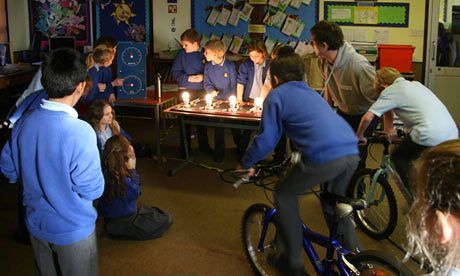 Horniman primary school's 'eco-committee' came up with an idea for the School We'd Like competition that involved using bikes to produce electricity. Photograph: Colin Tonks